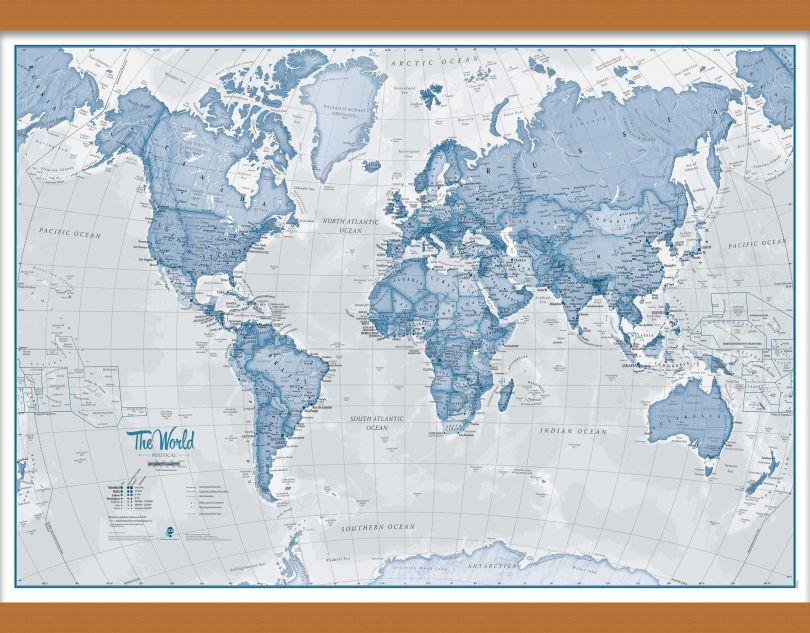 Medium The World Is Art - Wall Map Blue (Wooden hanging bars)