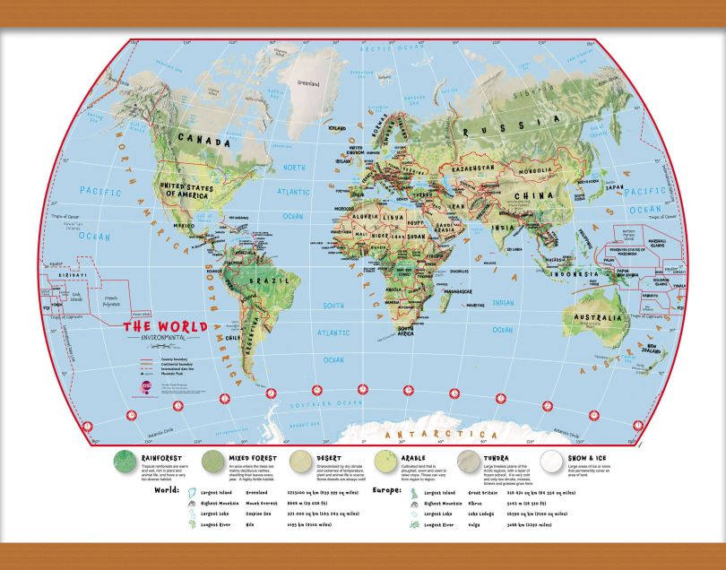 Small Primary World Wall Map Environmental (Wooden hanging bars)