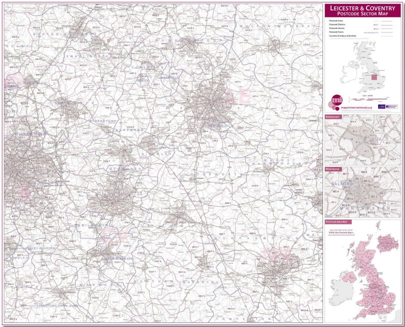 Leicester and Coventry Postcode Sector Map (Pinboard)