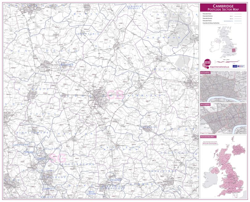 Cambridge Postcode Sector Map