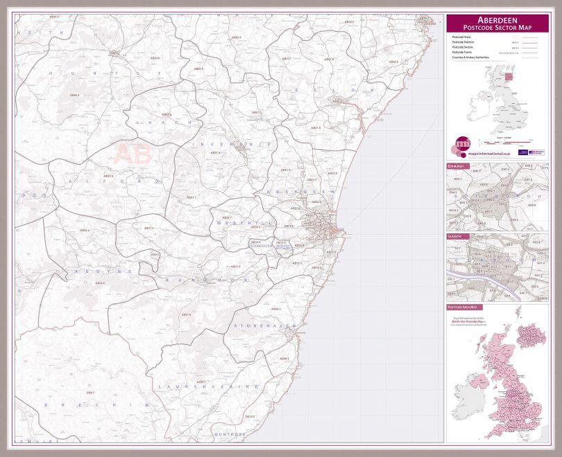 Aberdeen Postcode Sector Map (Pinboard & framed - Silver)