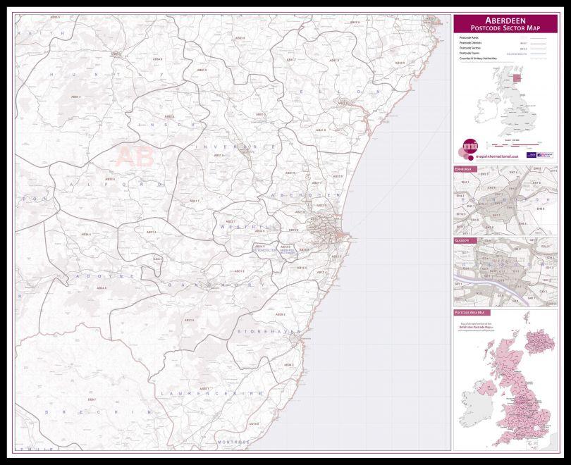 Aberdeen Postcode Sector Map (Pinboard & framed - Black)