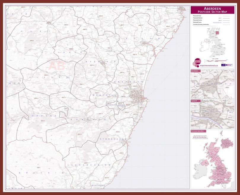 Aberdeen Postcode Sector Map (Pinboard & framed - Dark Oak)