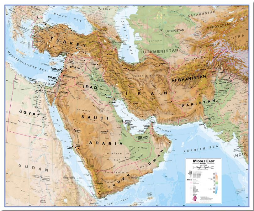 Large Middle East Wall Map Physical (Pinboard)