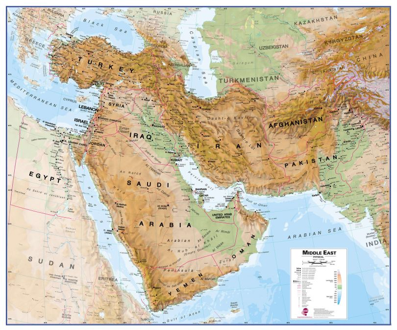 Large Middle East Wall Map Physical (Magnetic board and frame)