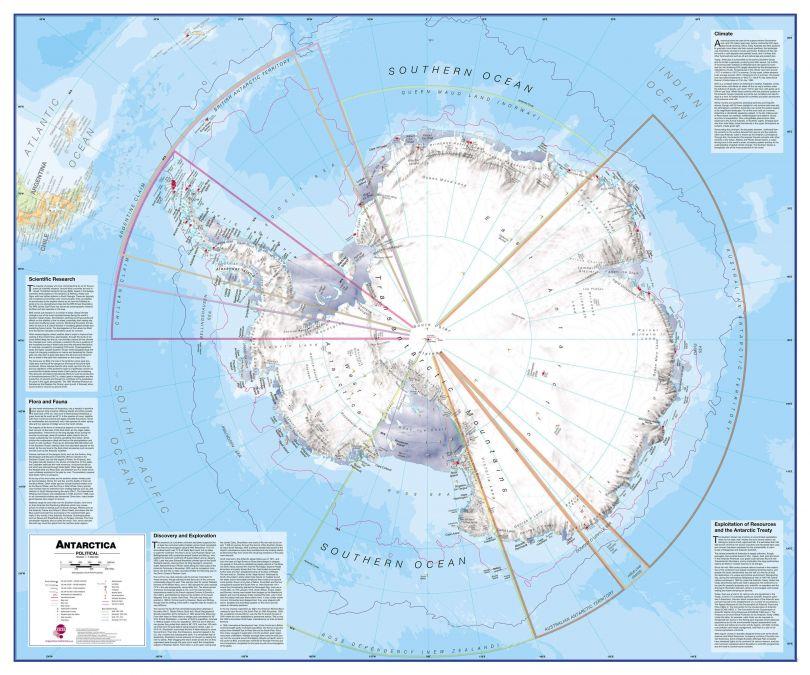 Antarctica Wall Map Political