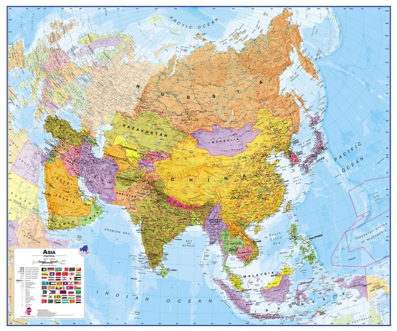 Asia Wall Map Political