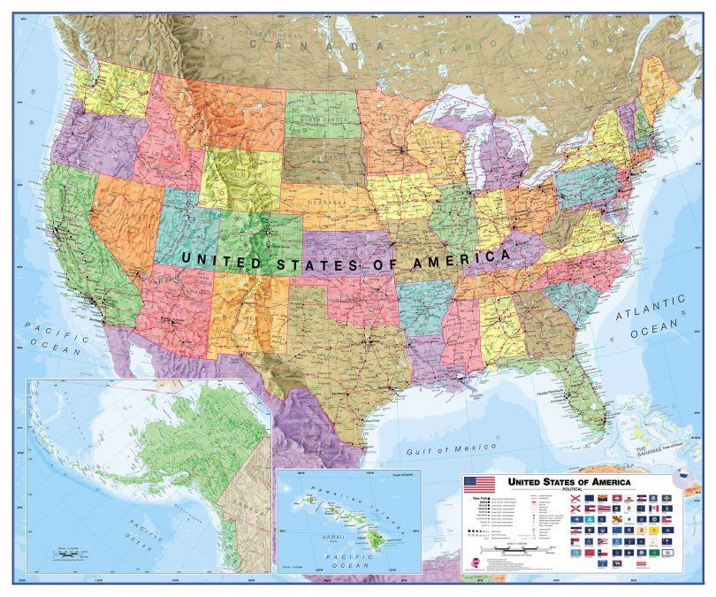 USA Wall Map Political
