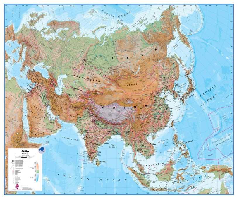Large Asia Wall Map Physical (Raster digital)