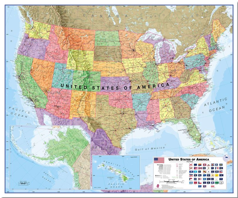 Large USA Wall Map Political (Pinboard)