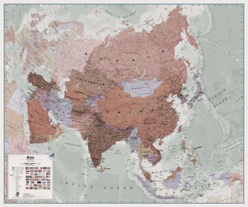 Executive Asia Wall Map Political