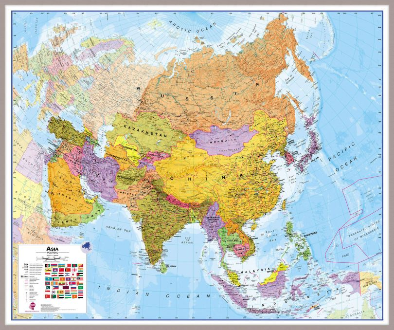 Huge Asia Wall Map Political (Pinboard & framed - Silver)