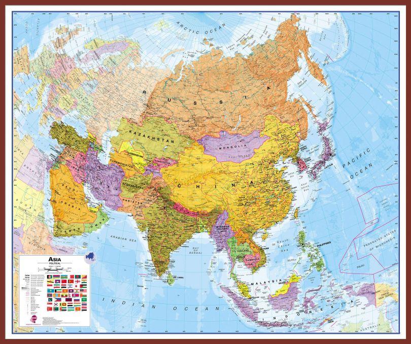 Huge Asia Wall Map Political (Pinboard & framed - Dark Oak)