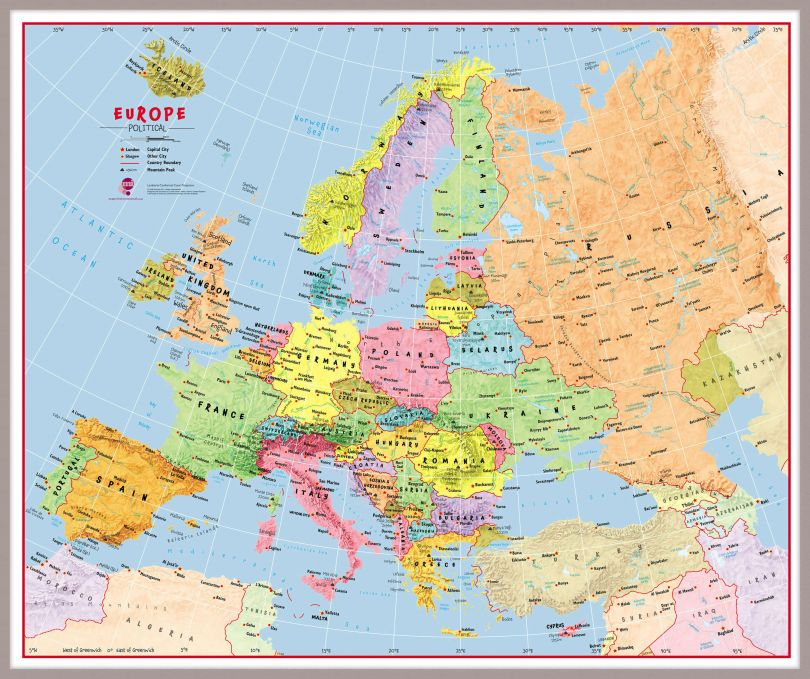 Huge Primary Europe Wall Map Political (Pinboard & framed - Silver)