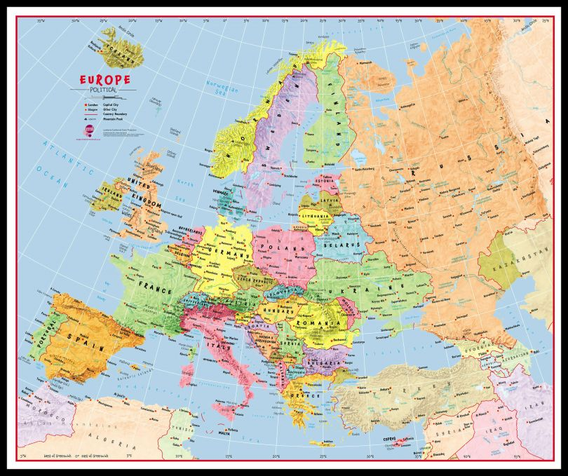 Huge Primary Europe Wall Map Political (Pinboard & framed - Black)