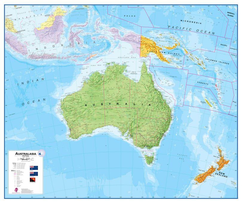Australasia Wall Map Political