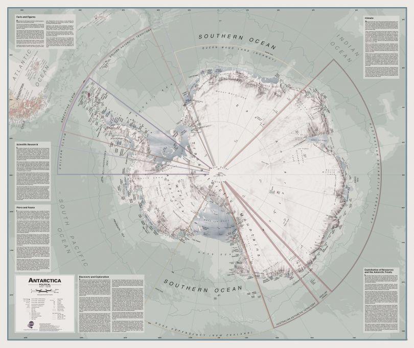Executive Antarctica Wall Map Political