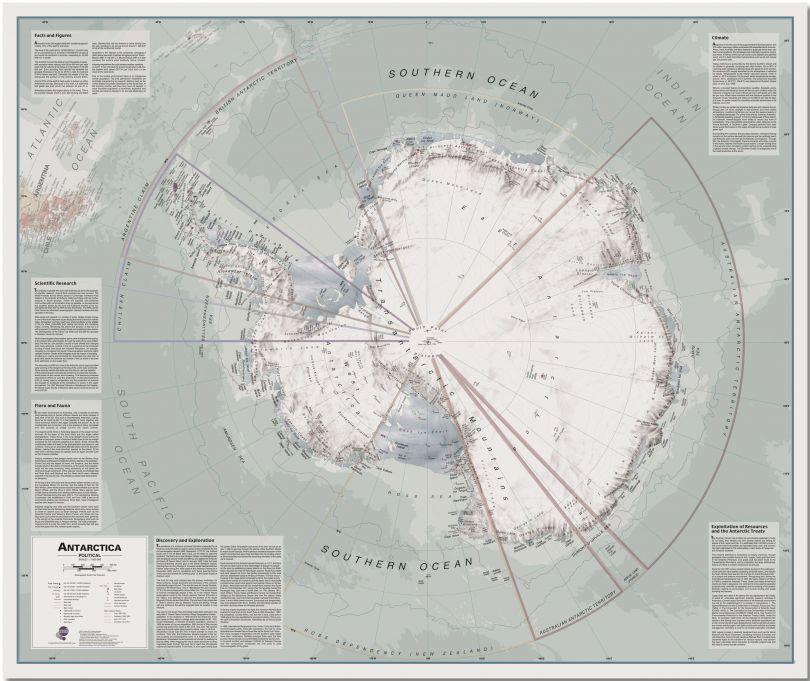 Huge Executive Antarctica Wall Map Political (Pinboard)