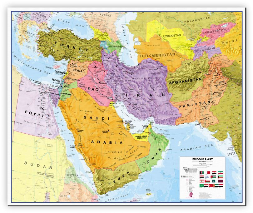 Large Middle East Wall Map Political (Canvas)