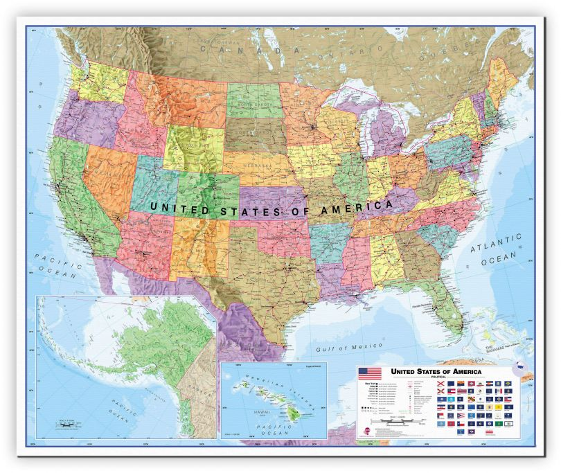 Large USA Wall Map Political (Canvas)