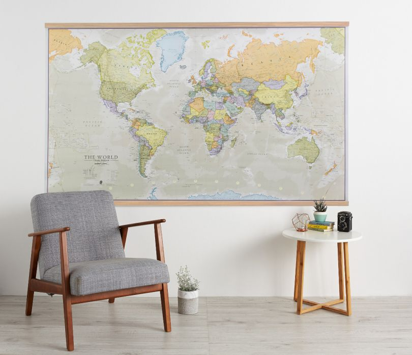 Huge Classic World Map (Wooden hanging bars)