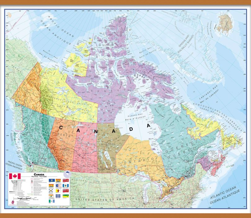Huge Canada Wall Map Political (Wooden hanging bars)