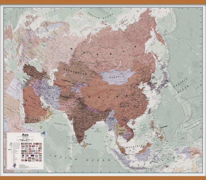 Huge Executive Asia Wall Map Political (Wooden hanging bars)