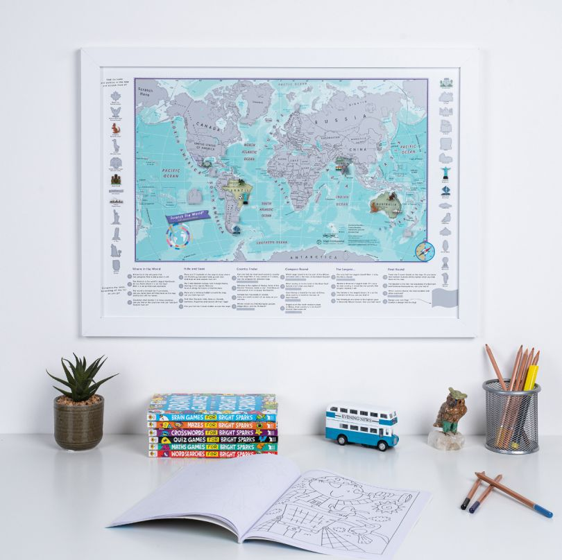 Scratch the World® activity adventure map print (Pinboard & wood frame - White)
