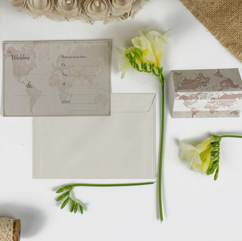 Antique World Map Wedding Invitations (Pack of 10)