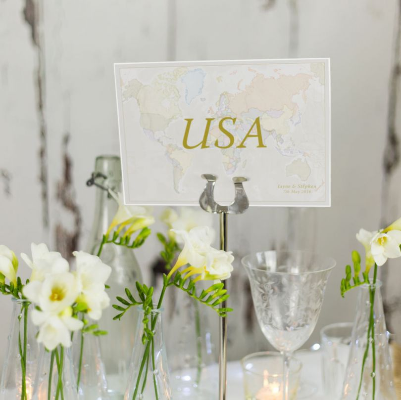 Classic World Countries Wedding Table Name Cards