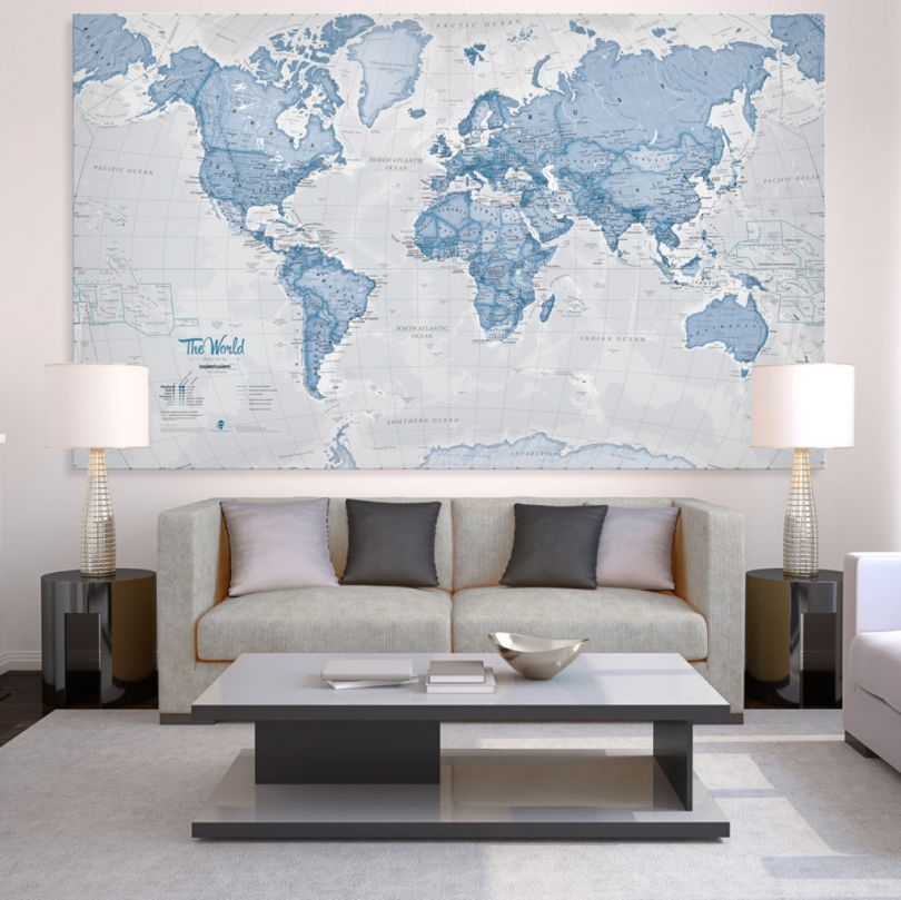 Huge The World Is Art - Wall Map Blue (Canvas)