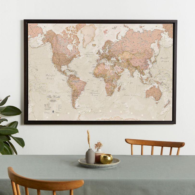 Large Antique World Map (Canvas Floater Frame - Black)