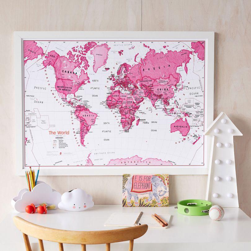 Children's Art Map of the World Pink