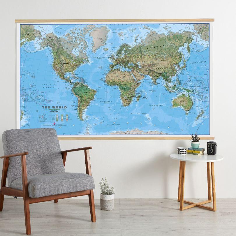 Huge World Wall Map Environmental (Wooden hanging bars)
