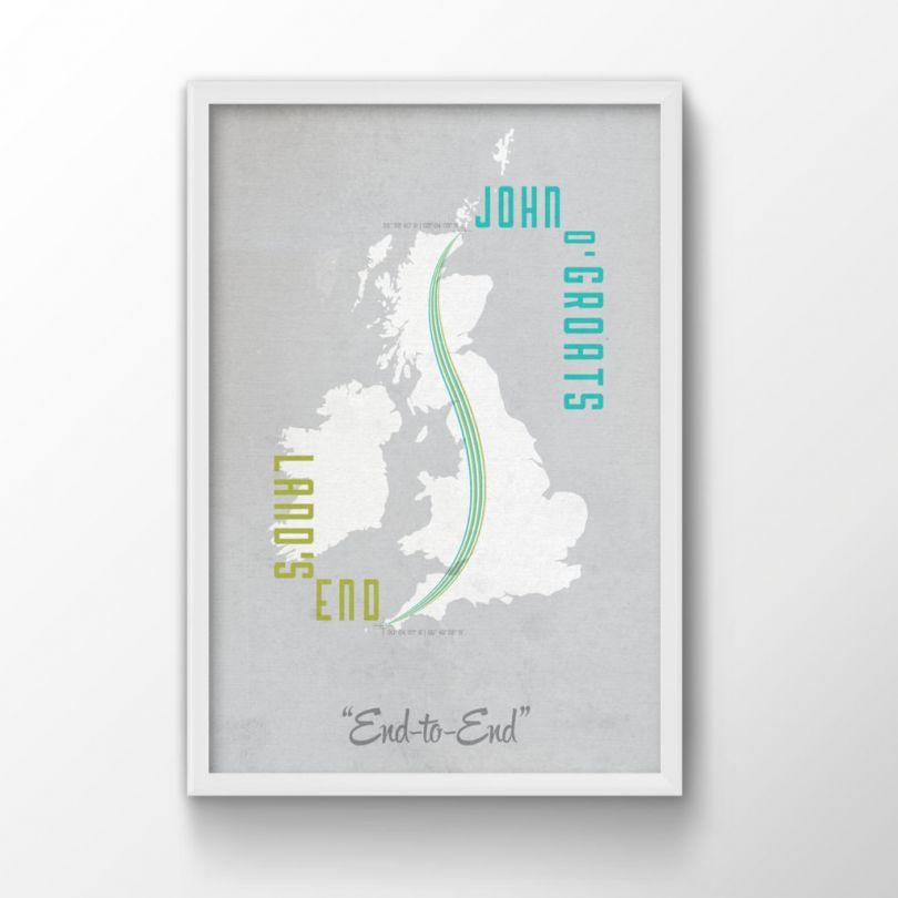 A4 Land's End To John O'Groats Map Print (Wood Frame - Black)