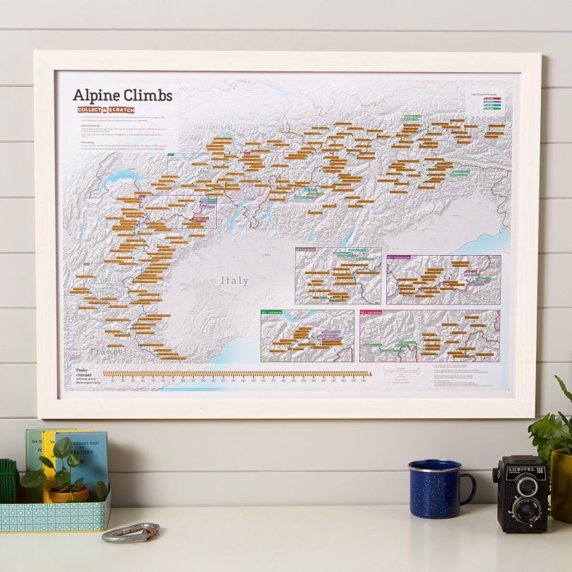 Scratch Off Alpine Climbs Print (Pinboard & wood frame - White)