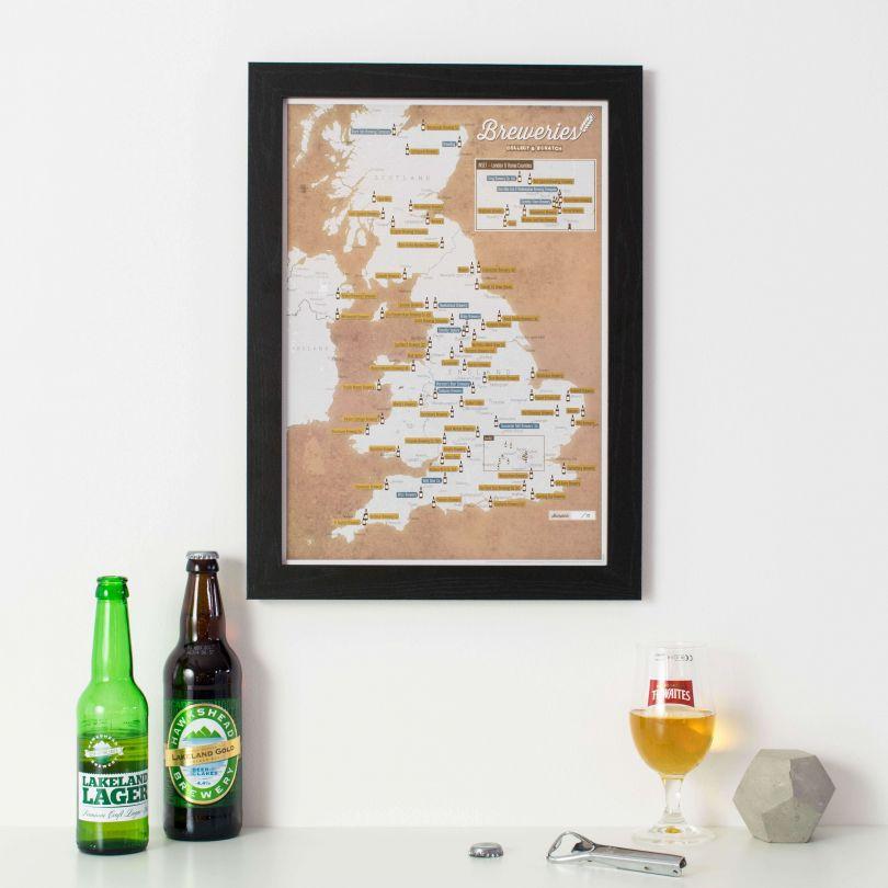 Scratch Off UK Breweries Print (Pinboard & wood frame - Black)