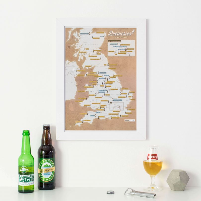 Scratch Off UK Breweries Print (Pinboard & wood frame - White)