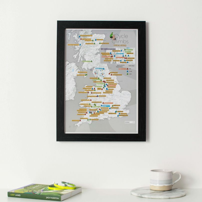 Scratch Off UK Cycle Climbs Print (Pinboard & wood frame - Black)