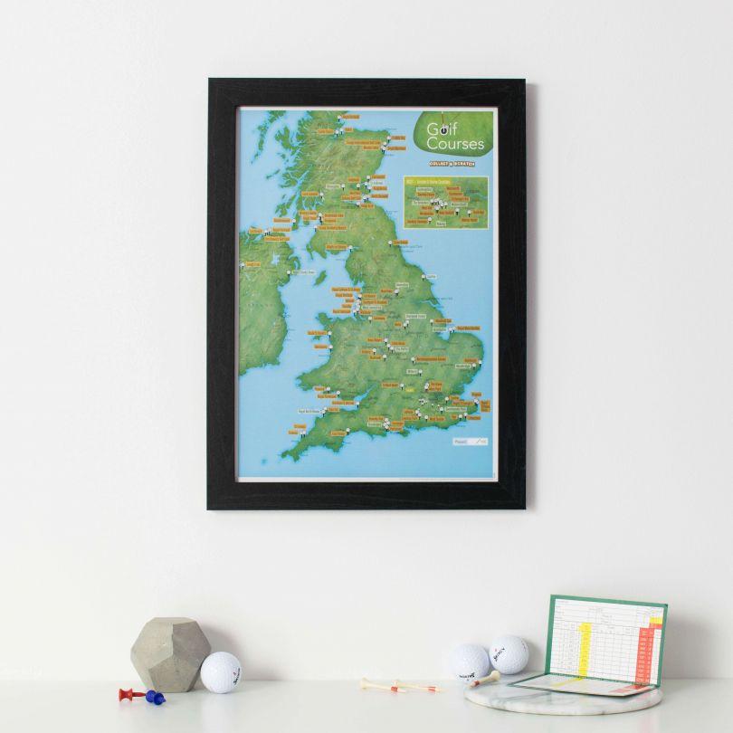 Scratch Off UK Golf Courses Print (Pinboard & wood frame - Black)