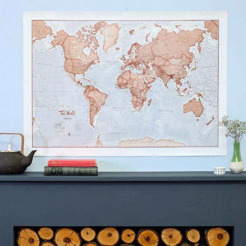 Medium The World Is Art - Wall Map Red (Silk Art Paper)