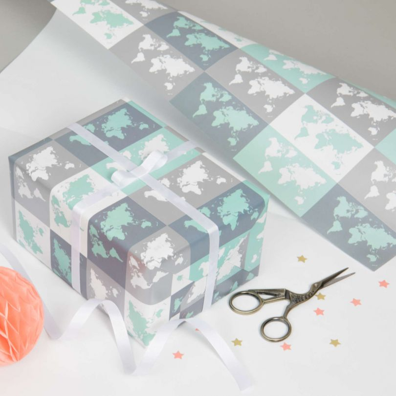 Metallic World Map Gift Wrapping Paper