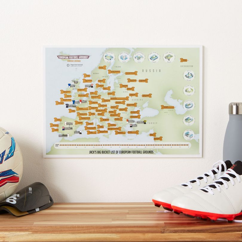 Personalised Scratch Off European Football Grounds Print