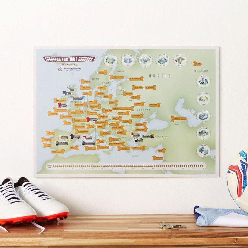Scratch Off European Football Grounds Print