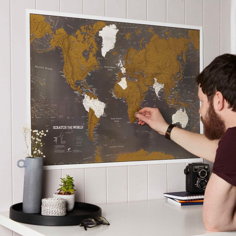 Scratch the World® black edition map print (Silk Art Paper)