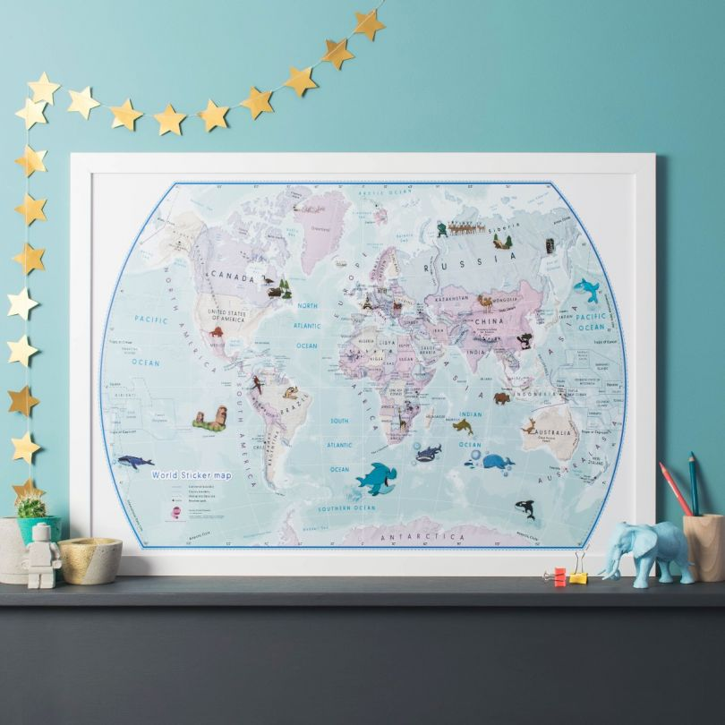 World Illustrated Sticker Map (Paper Single Side Lamination)