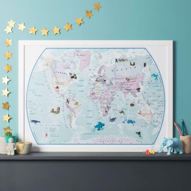 World Illustrated Sticker Map