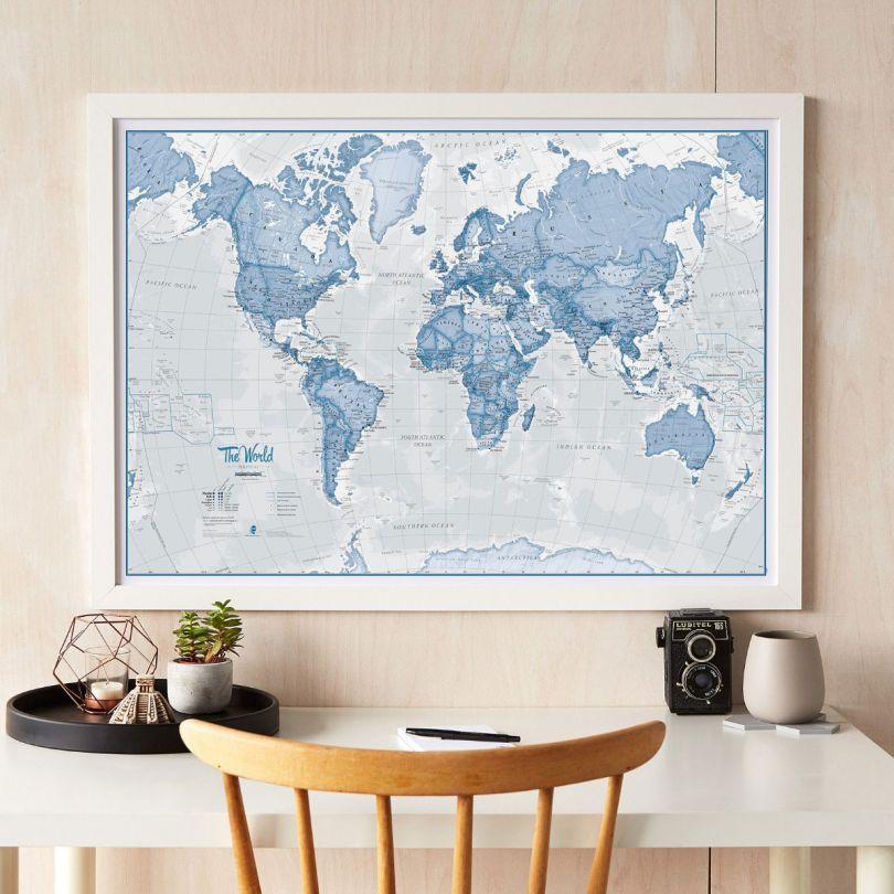 Medium The World Is Art - Wall Map Blue (Wood Frame - White)
