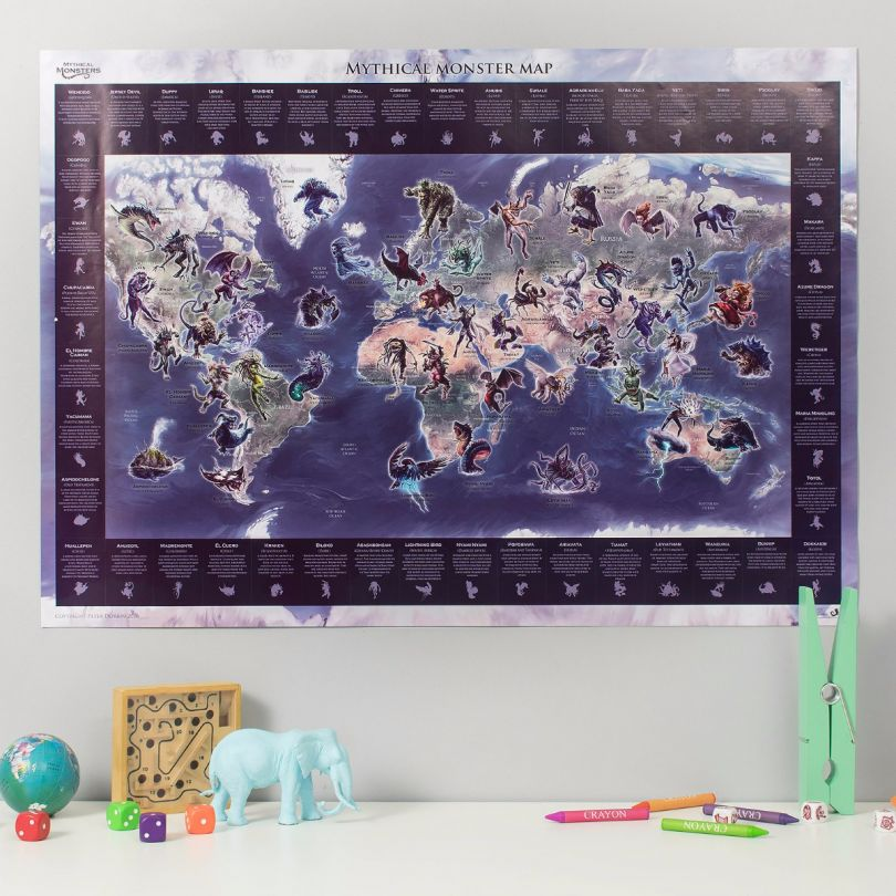 Medium Mythical Monster World Map (Silk Art Paper)