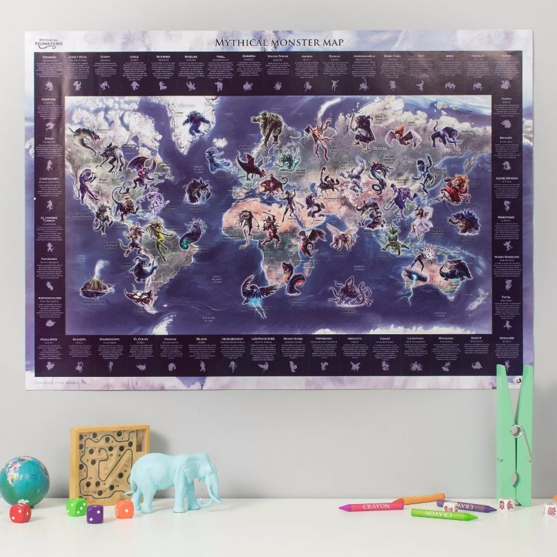 Mythical Monster Glow in the Dark World Map